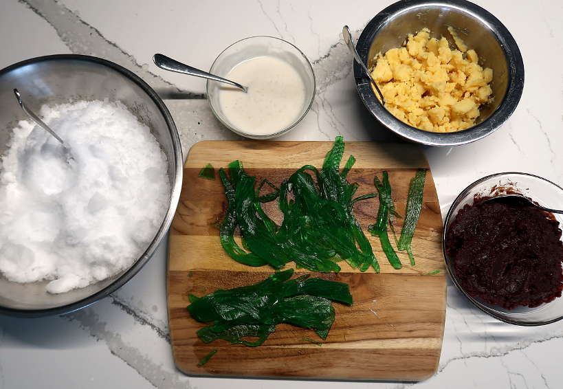 Ingredients to assemble che ba mau by Authentic Food Quest