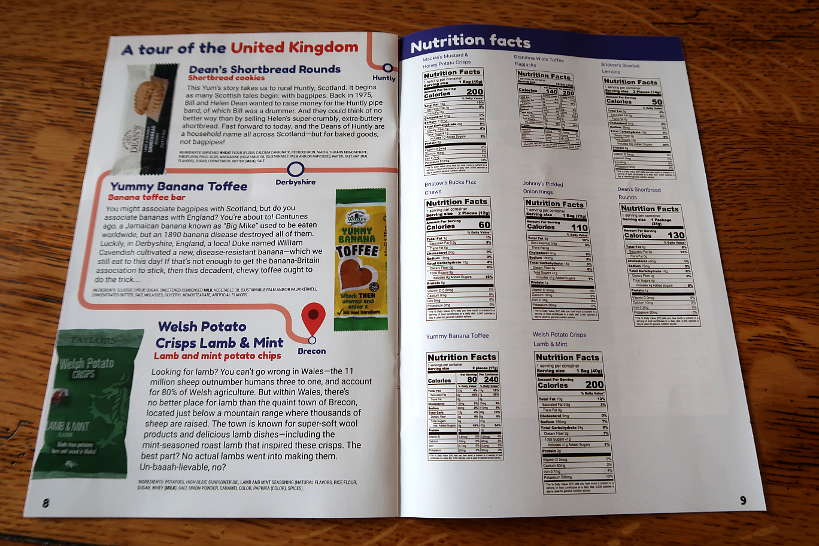 Nutrition facts on Yum Box by Authentic Food Quest for Universal Yums Review