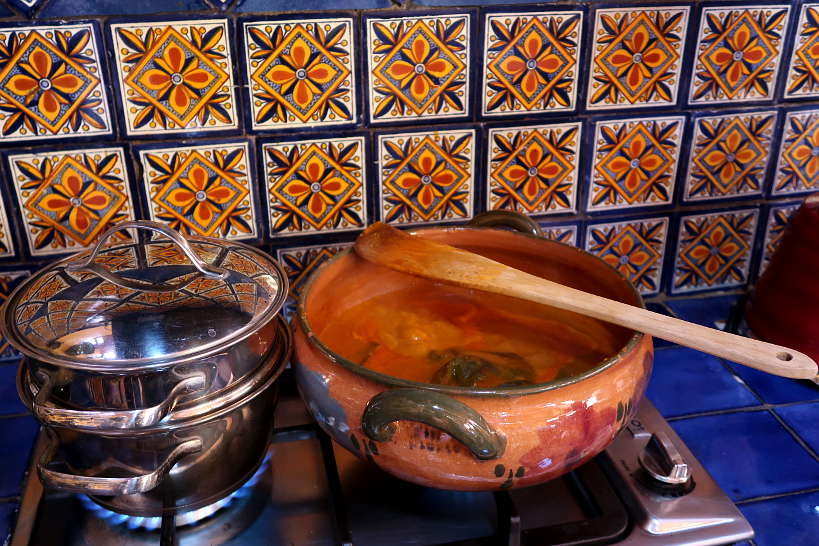 Clay pot for cooking mole for cooking class in Oaxaca by Authentic Food Quest