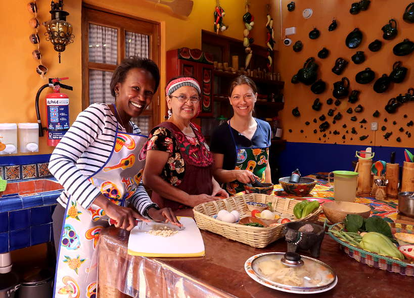 Rosemary and Claire at La Cocina Oaxaquena cooking class in Oaxaca by Authentic Food Quest