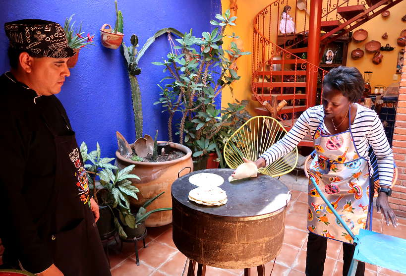 Rosemary making tortillas at La Cocina Oaxaquena by Authentic Food Quest