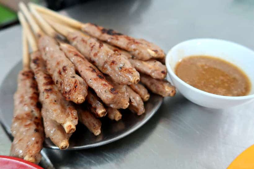 Nem Lui Hue Lemongrass Pork Skewers popular Food in Danang by Authentic Food Quest