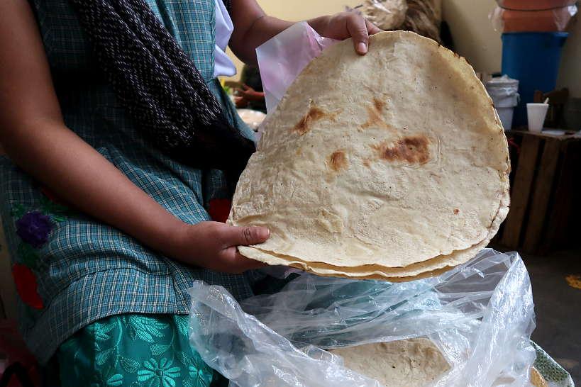 Soft tlayudas at La Merced Oaxaca Mexico by Authentic Food Quest