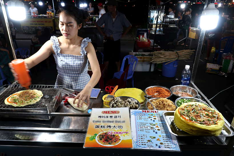 Banh Trang Trung street vendor in Hue by Authentic Food Quest
