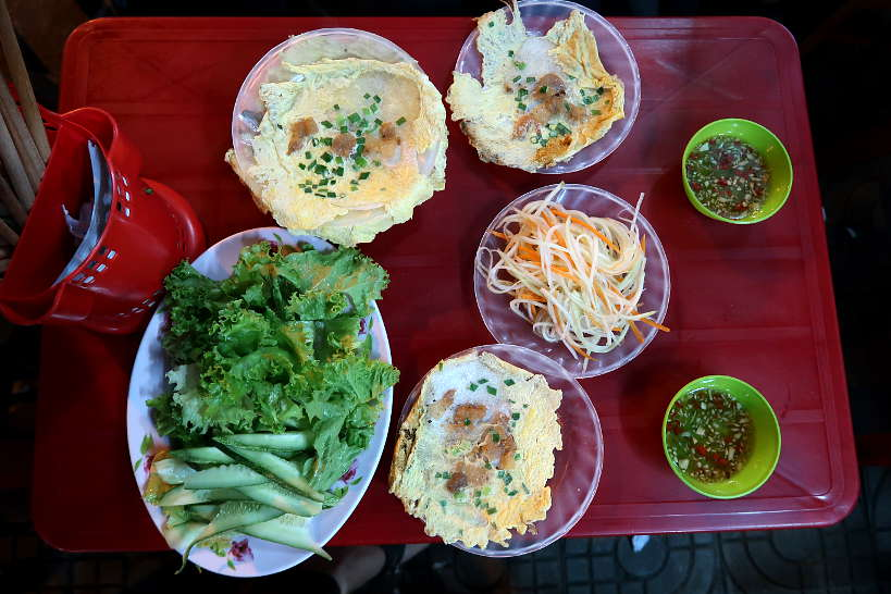 Eating Banh Ep Hue Food by Authentic Food Quest