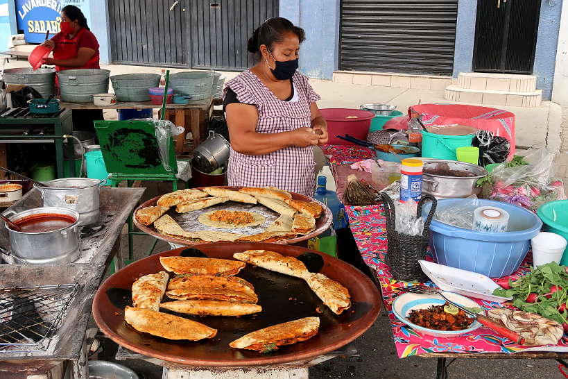 Empanadas stand at Oaxaca Tianguis by Authentic Food Quest
