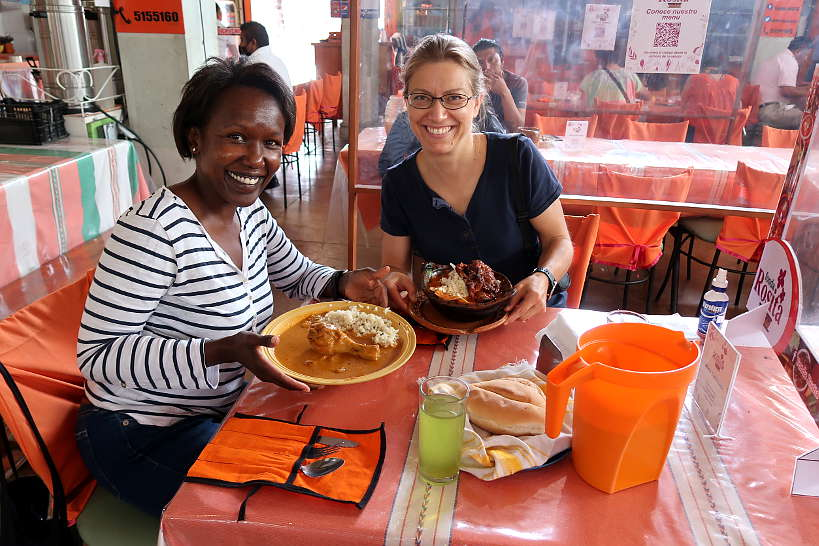 Rosemary and Claire at Fonda Rosita at La Merced in Oaxaca by Authentic Food Quest