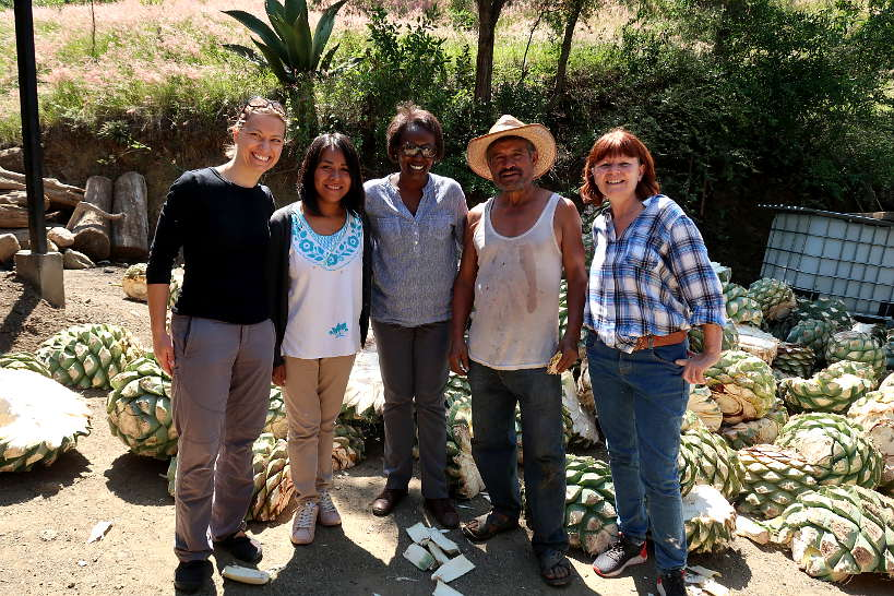 Claire and Rosemary with Daniela, Crispin and Maggie at Geü Beez mezcal distillery by Authentic Food Quest