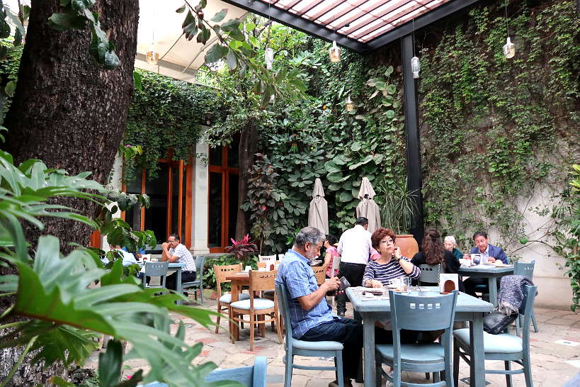 Coffee shop at Casa Vertiz in Oaxaca Mexico by Authentic Food Quest