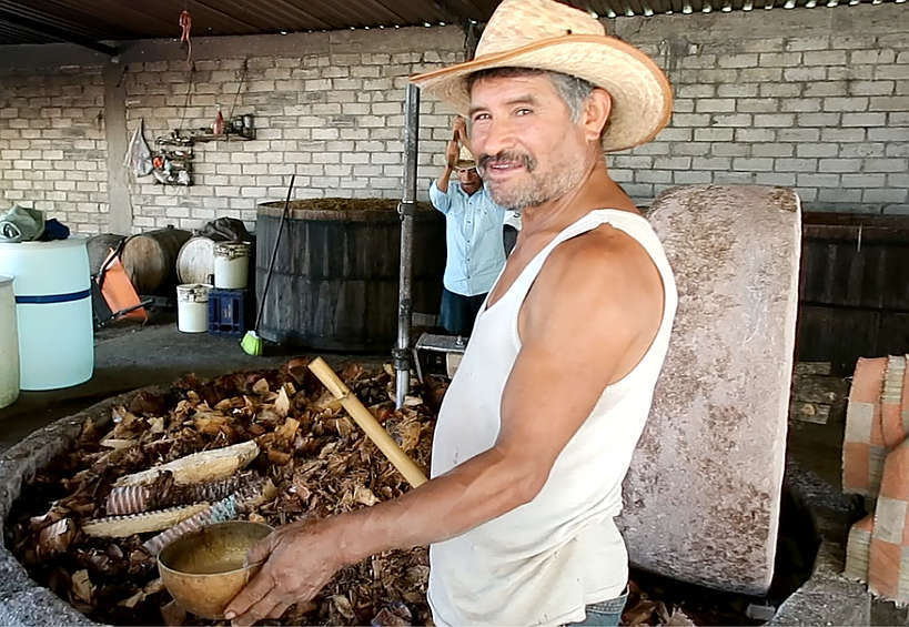 Crispin owner of Geü Beez distillery on mezcal tour Oaxaca by Authentic Food Quest