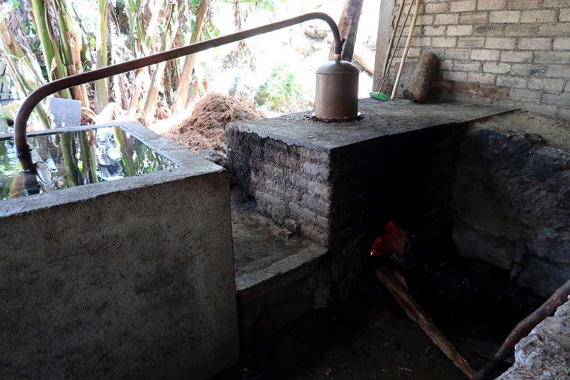 Mezcal distillation in alembics on Mezcal tour Oaxaca by Authentic Food Quest