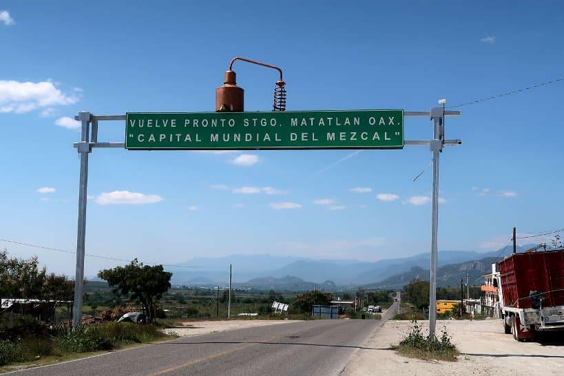 Santiago de Matatlan sign in Oaxaca by Authentic Food Quest