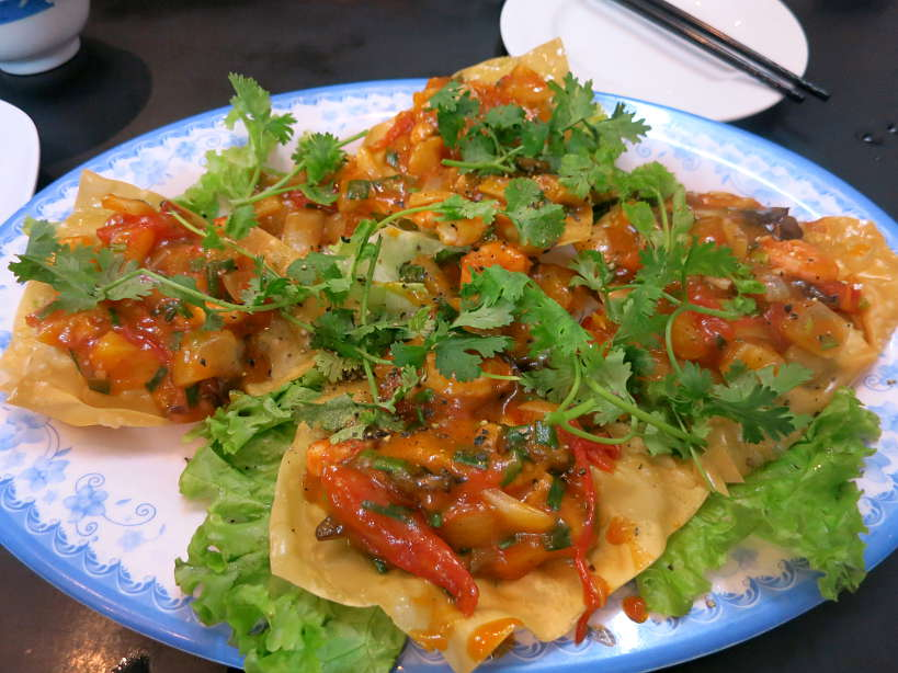 Fried wontons at Hoanh Thanh Chien for food in Hoi An by Authentic Food Quest