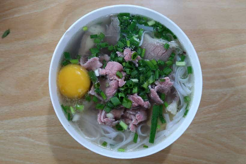 pho with an egg at Pho Bac 63 in Danang Vietnam by AuthenticFoodQuest