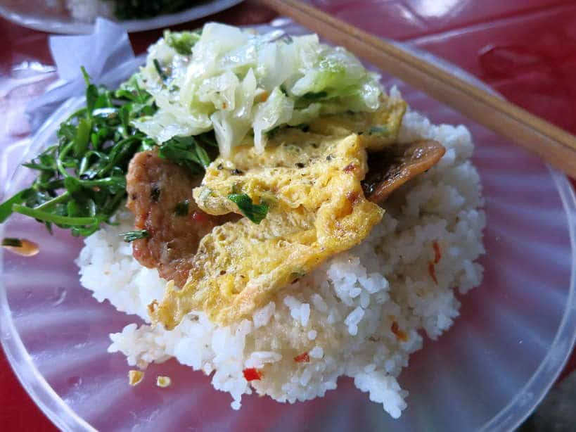 Broken rice with egg com tam trung Authentic Food Quest