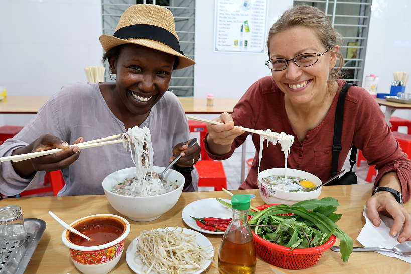 Rosemary and Claire eating Pho in Danang Vietnam by Authentic Food Quest