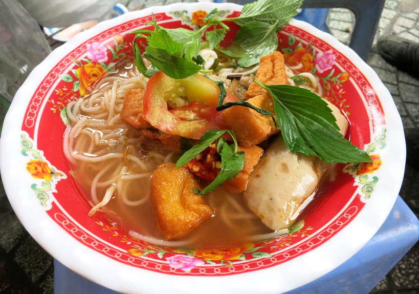 Bun rieu crab noodle soup Vietnamese street food by Authentic Food Quest