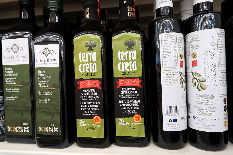 Cretan olive oil at Supermarket in Crete by Authentic Food Quest