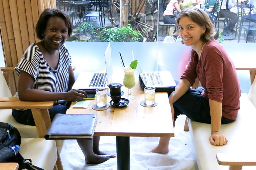 Rosemary and Claire at a Saigon coffee shop in Vietnam by Authentic Food Quest