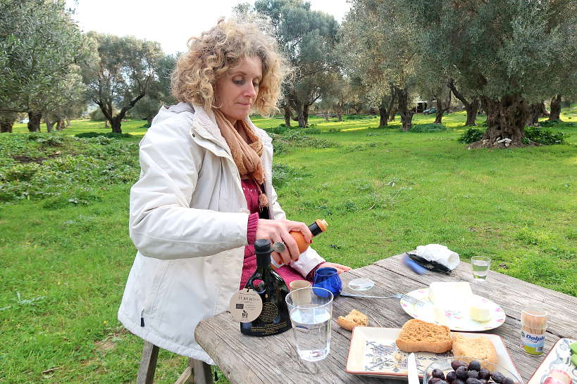 Aspassia teaching us about olive oil tour Crete by Authentic Food Quest
