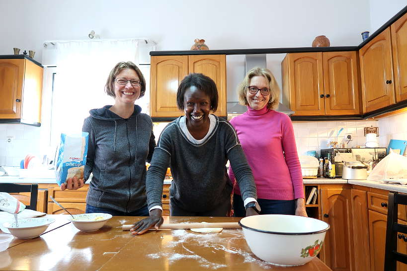 Claire and Rosemary learning how to make phyllo dough from scratch by Authentic Food Quest