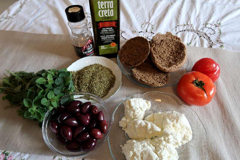 Ingredients for Cretan Dakos Recipe by Authentic Food Quest
