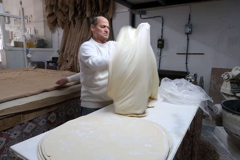 Making phyllo dough for bougatsa stelios chania Crete by Authentic Food Quest