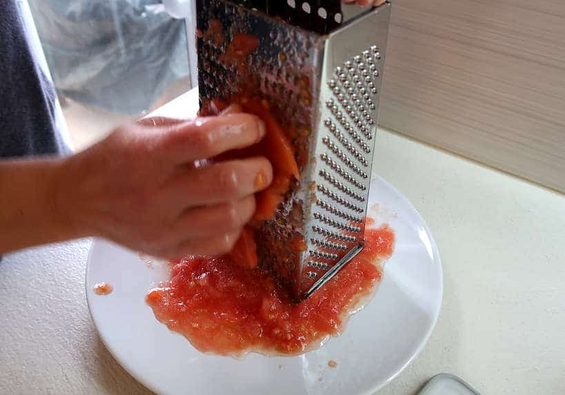 Tomatoes grated for Cretan salad by Authentic Food Quest
