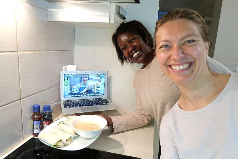 Rosemary and Claire taking an online Vietnamese cooking class with the Chef and the Dish by Authentic Food Quest