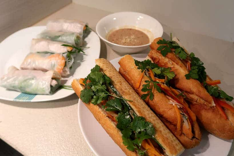 Spring rolls and banh mi sandwich Vietnamese cooking class by Authentic Food Quest
