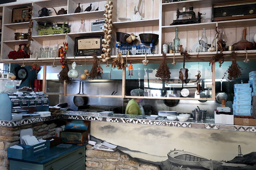 The kitchen at bakaliarakia a Chania Restaurant by AuthenticFoodQuest