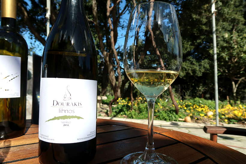 Vidiano white Cretan wine at Dourakis Winery by Authentic Food Quest
