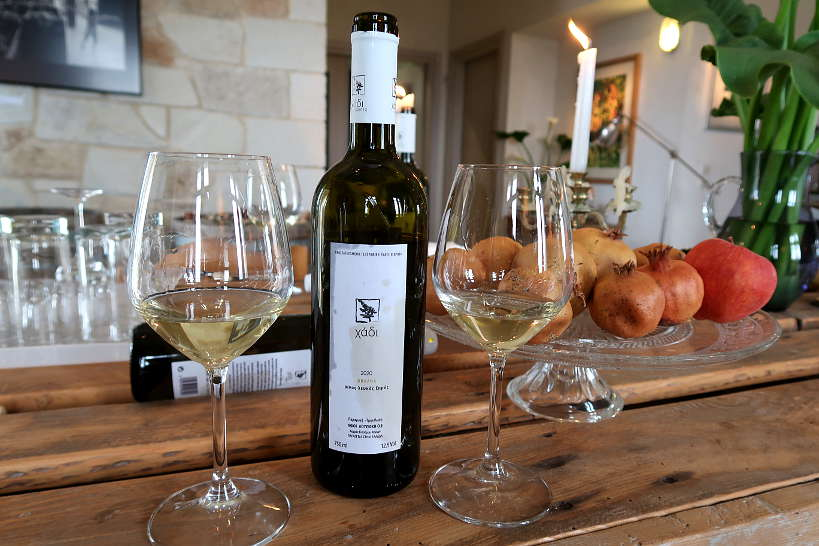 Vilana white wine at Loupakis winery tasting room by Authentic Food Quest