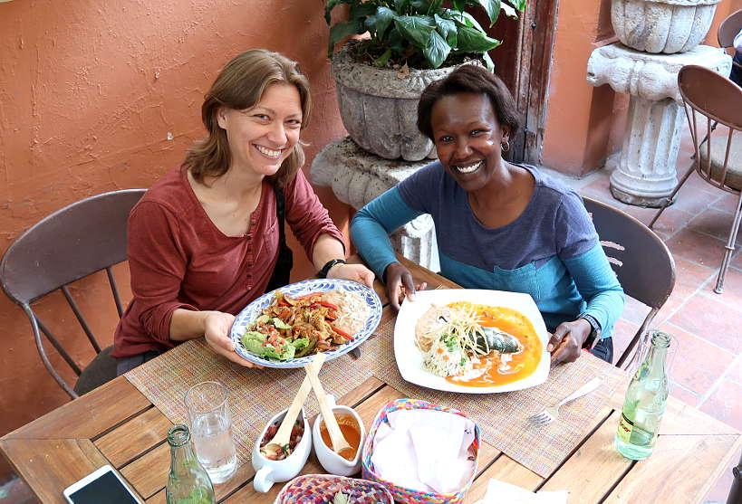 Claire and Rosemary at Casa Fuerte in Tlaquepaque Restaurant by AuthenticFoodQuest