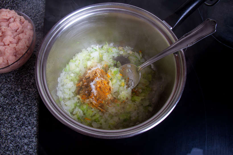 Preparing the Chicken Filling for Murtabak Step 4 by Authentic Food Quest