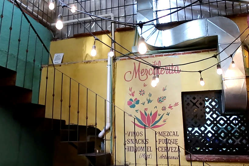 Stairs Leading To The Rooftop La Mezcalerita by Authentic Food Quest